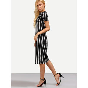 Vertical Striped Skinny Dress