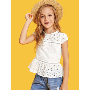Girls Lace Insert Eyelet Embroidered Top