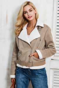 Casual Leather Suede Jacket with Fur Collar