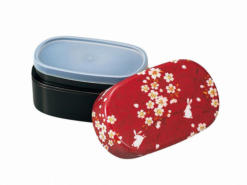 Sakura Rabbit Oval Bento Box | Red
