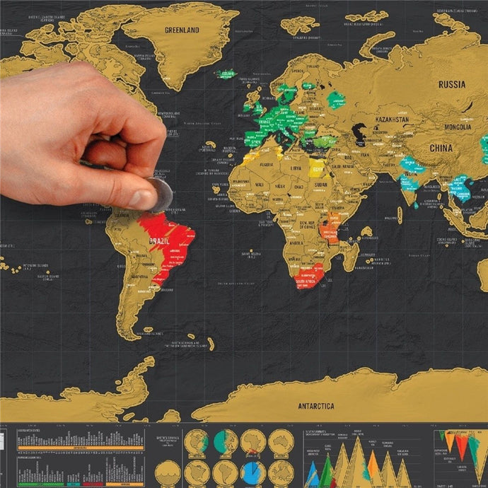 Deluxe Travel Edition Scratch Off World Map Poster
