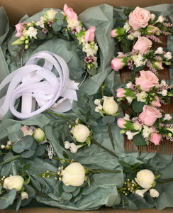 Bridal Floral crown, bridesmaids haircombs, Buttonholes