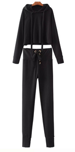 2 Piece Tracksuit, High Wide Waist with Drawstring Tie - Choose from Black or Khaki - My Chronic Style