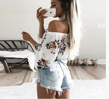 Flare Sleeve Boho Flower Print, Off Shoulder Crop Top - My Chronic Style