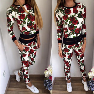 2 Piece Red Rose Tracksuit/Outfit - My Chronic Style