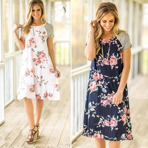 Floral A-Line T-Shirt Dress - My Chronic Style