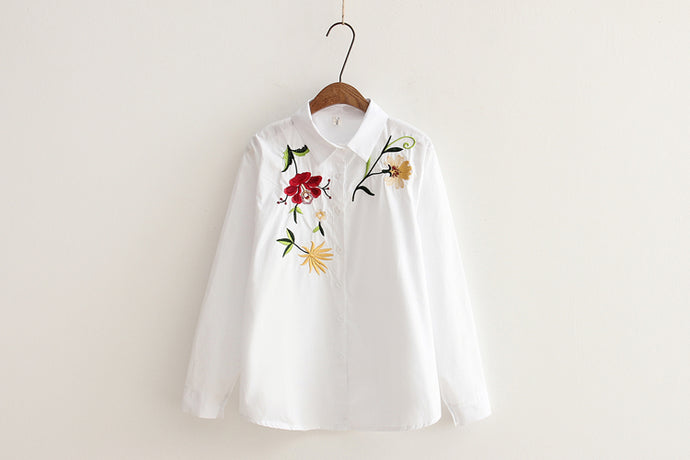 Floral Embroidered White Cotton Shirt - My Chronic Style