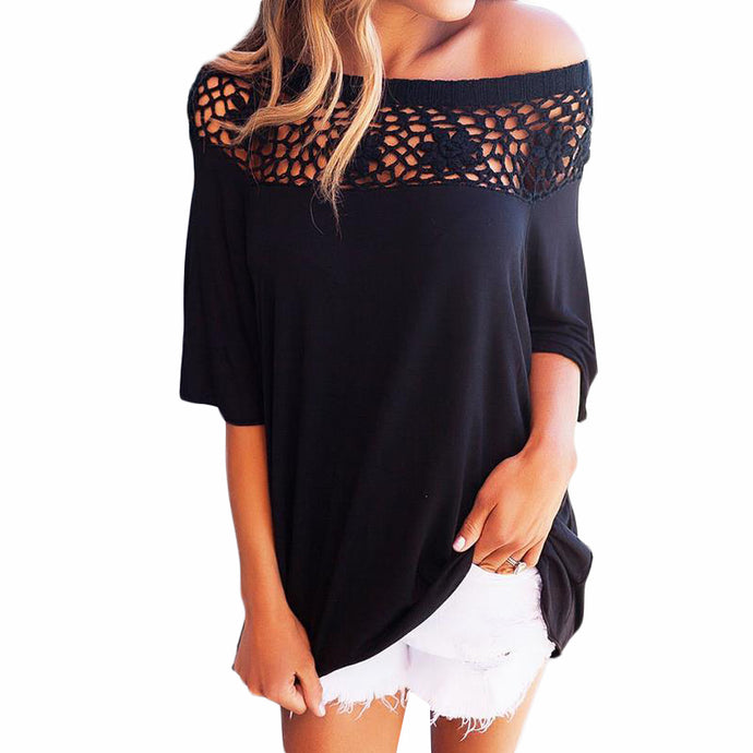 Off The Shoulder Lace Topped T-Shirt - Choose from Black, Blue, Red or White - My Chronic Style