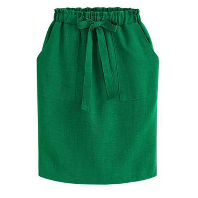 Lovely Short Cotton Skirt, High Elasticated Waist - Choice of Black of Green S - 3XL - My Chronic Style