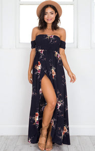 Lovely Floral Off the Shoulder Maxi Dress - Choice of colours and Sizes from XS - 5XL - My Chronic Style