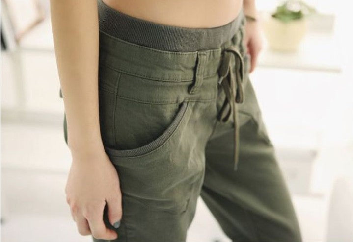 Slim Fit Cotton Trousers with Wide Elasticated Waist - Choose from Black or Army Green - My Chronic Style
