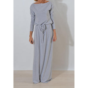 Super Comfy, Long Dress with Slash Neck Detail - Choose from Grey, Green or Blue - My Chronic Style