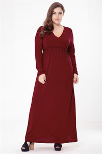 Sexy V Neck Long Sleeve Maxi Dress - Available in sizes XL - 6XL - My Chronic Style