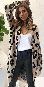 Leopard Print Knitted Long Cardigan