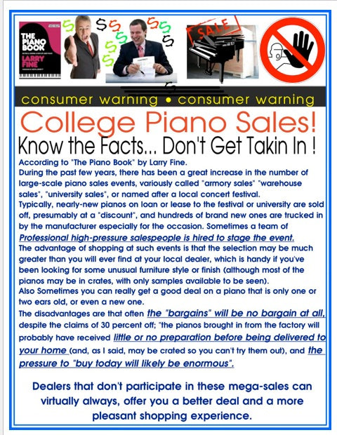 College Piano Sales: Consumer Warning