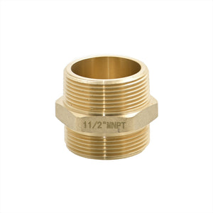 "B36H-15T15S - Adapter 1.5"" Male NPT x 1.5"" Male NPSH Brass Hex"