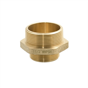 "B36H-20T15S - Adapter 2.0"" Male NPT x 1.5"" Male NPSH Brass Hex"