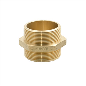 "B36H-20T20S - Adapter 2.0"" Male NPT x 2.0"" Male NPSH Brass Hex"