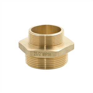 "B36H-20T25S - Adapter 2.0"" Male NPT x 2.5"" Male NPSH Brass Hex"