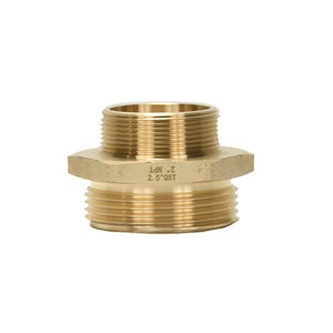 "B36H-25B20T - Adapter 2.5"" Male BAT x 2.0"" Male NPT Brass Hex"