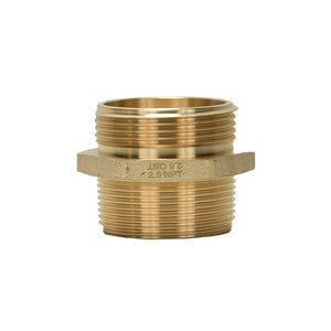 "B36H-25B25T - Adapter 2.5"" Male BAT x 2.5"" Male NPT Brass Hex"