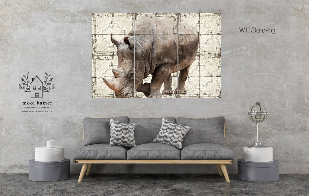 3 Set | Rhinoceros | Vintage Tile