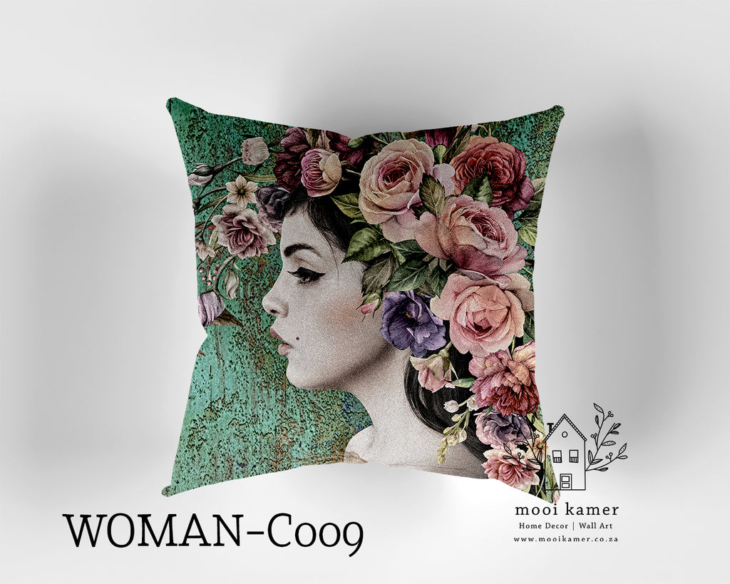 Cushion | FLOWER LADY | Premium Mock Linen | Inner not Included