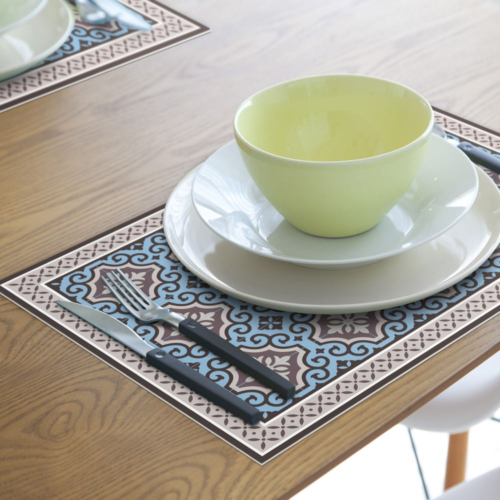 Placemats set of 6 | Floral | Vinyl | 450x300mm