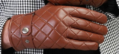 Borgasets Nappa Leather Quilted Checkered Gloves