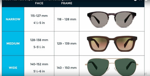 Width chart for sunglasses