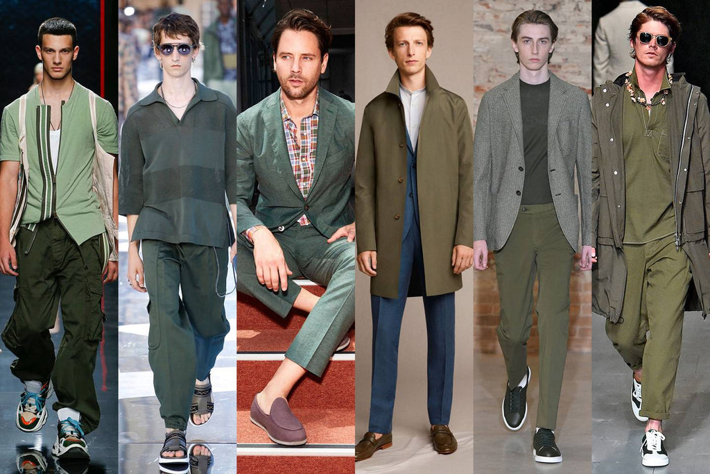 Streetwear 2019 men fashion podium models  sage color