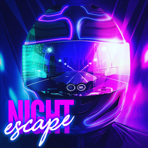 80s Voyager Synthwave Artist album cover night escape