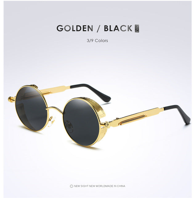 Gold Metal Polarized Gothic Steampunk Sunglasses - New Retro Streetwear Newretro.Net
