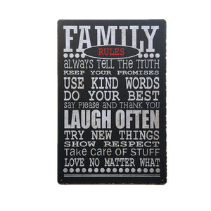 Family Rules Tin Sign - New Retro Streetwear Newretro.Net