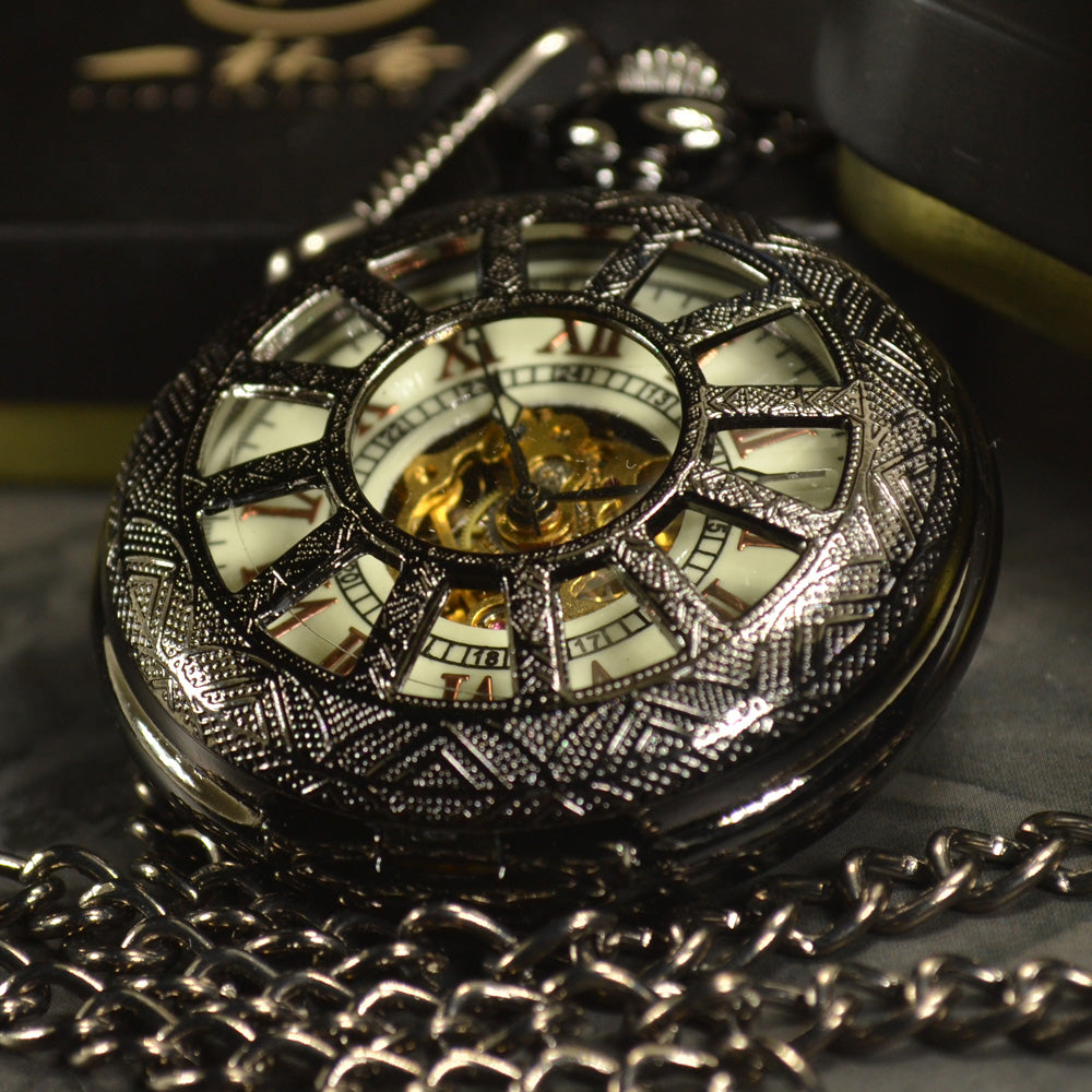 Black Skeleton Automatic Mechanical Pocket Watch - New Retro Streetwear Newretro.Net