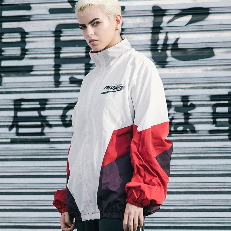 Block Jacket Oversized Streetwear Windbreaker - New Retro Streetwear Newretro.Net