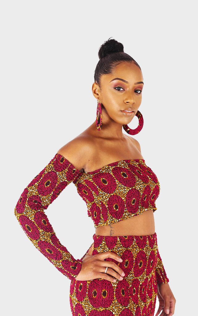 Adai Pink Bardot Crop Top - House of Amara