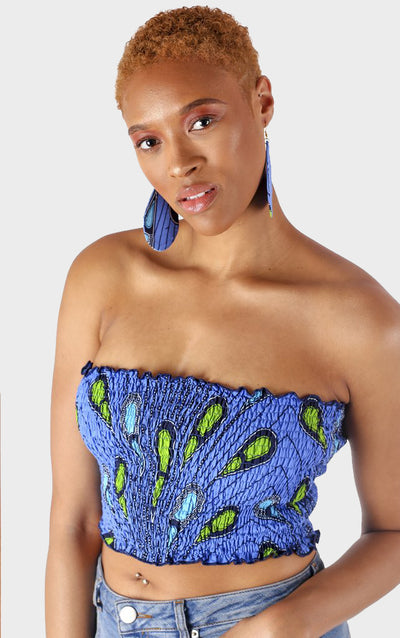 Leylah Blue Bandeau Top - House of Amara
