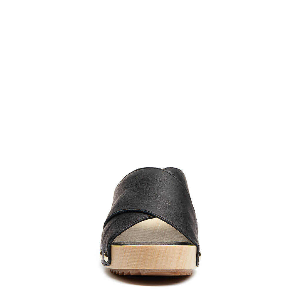 Gear Black Leather Platform Sandal