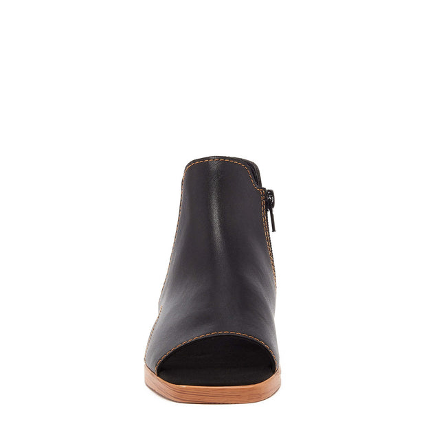 HART BLACK OPEN TOE LEATHER BOOTIE