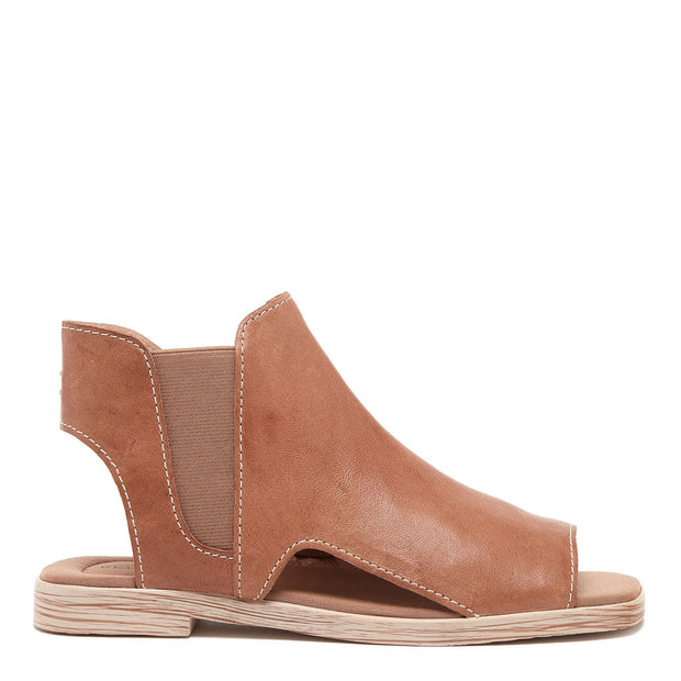 HART TAN OPEN TOE LEATHER BOOTIE