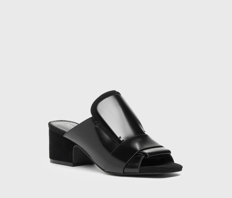 Sadie Black Leather Tailored Slide