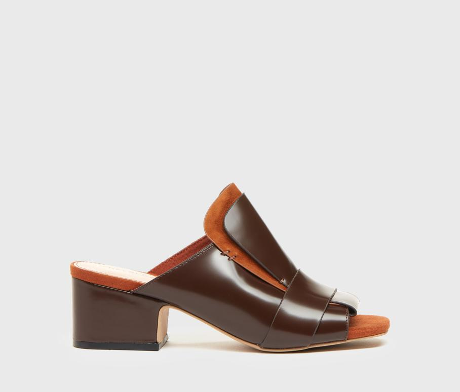 Sadie Cognac Leather Tailored Women's Slide