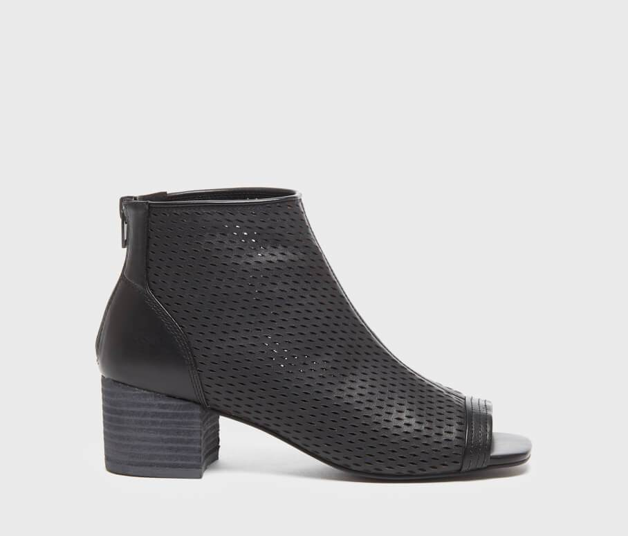 Simone Black Perforated Leather Women's Bootie