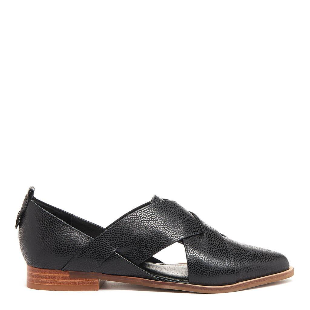 Kelsi Dagger BK® Social Black Leather Flat