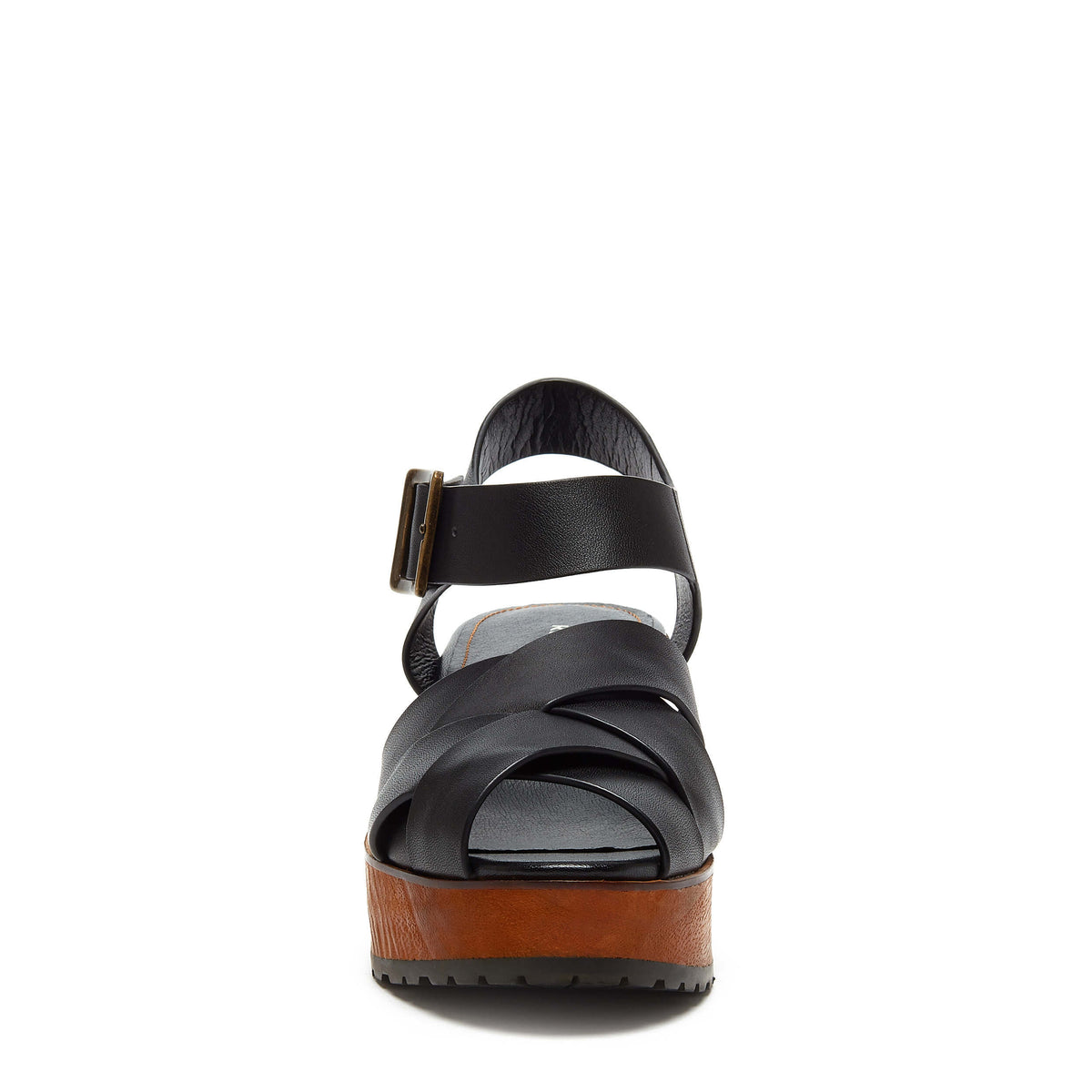 Webster Black Leather Wood Sandal