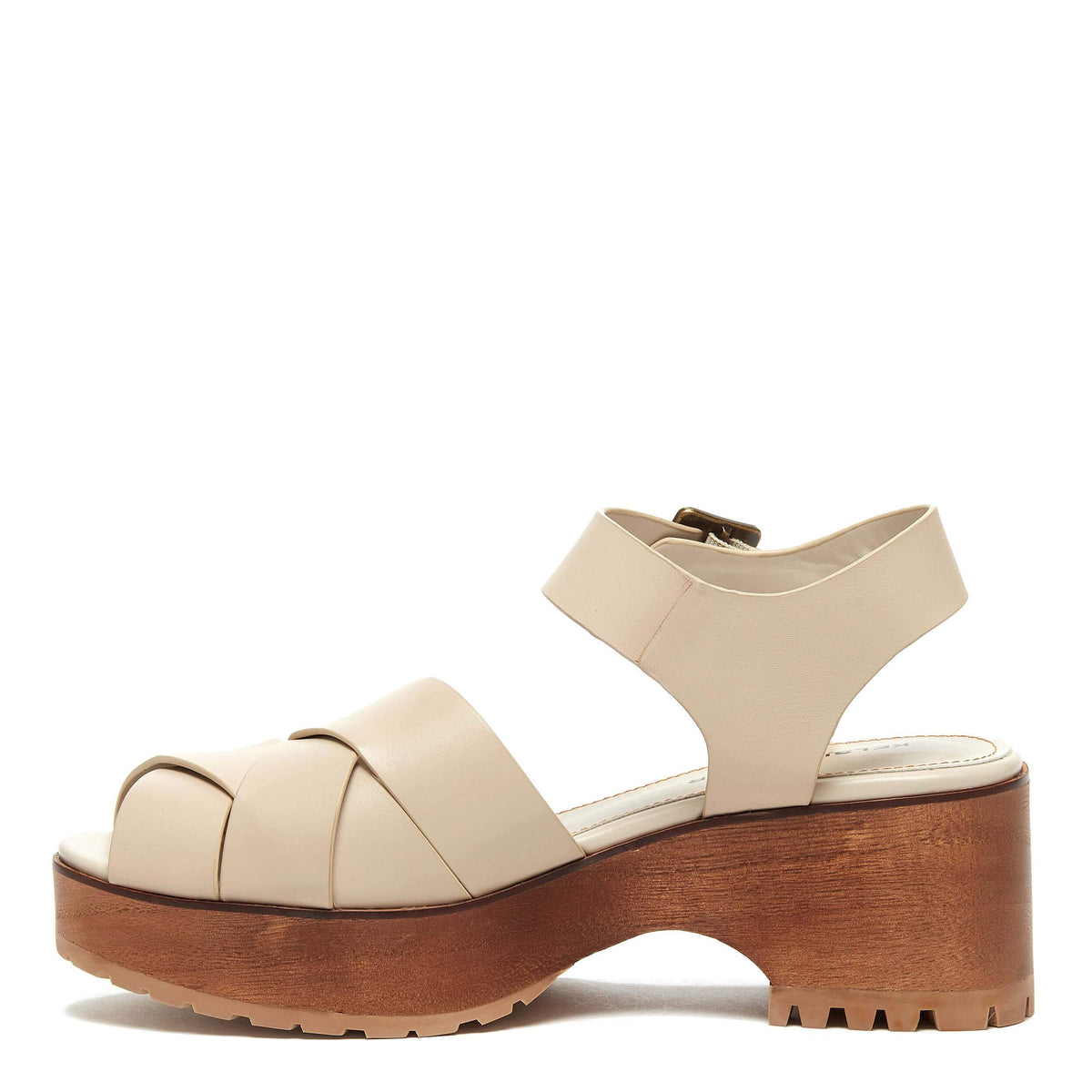 Webster White Wash Leather Wood Sandal