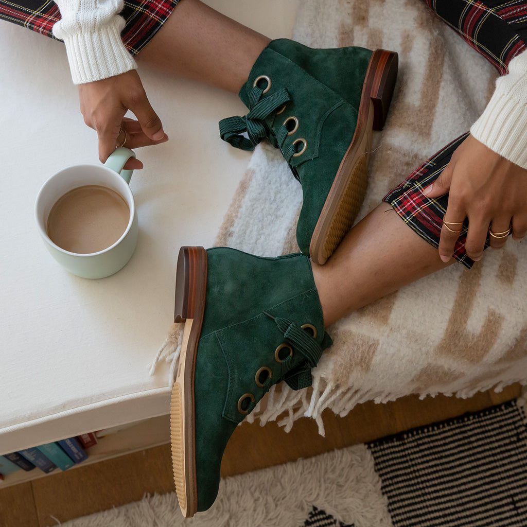 Lover Forest Green Suede Bootie