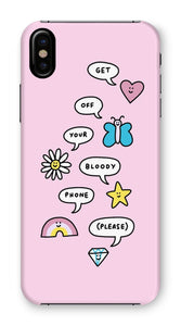 Get Off Your Bloody Phone (But in a Cute Way) Pink Phone Case