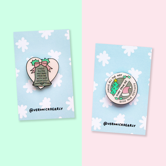 Jingle Away Pro & Anti-Christmas Pin Set